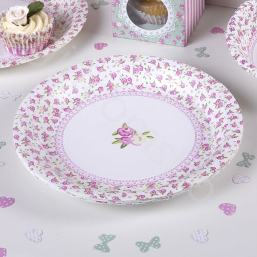 8 Paper Plates Vintage Tea Party Wedding Disposable Tableware Catering Supplies