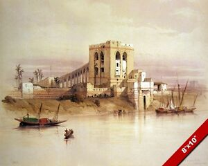 ANCIENT EGYPTIAN AQUEDUCT NILE RIVER EGYPT PAINTING ART REAL