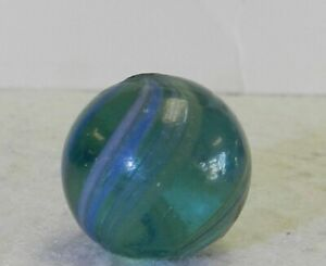 10836m-Vintage-German-Handmade-Colored-Glass-Coreless-Swirl-Marble-75-Inches