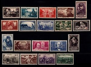 Les-ANNEES-40-Completes-Neufs-Cote-1-183-Lot-Timbres-France-451-a-862