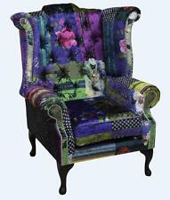 Chesterfield Patchwork London Queen Anne High Back Wing Chair Velvet Fabric