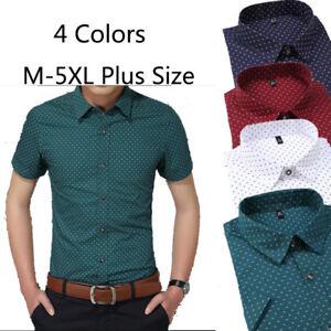 M-5XL-Mens-Luxury-Casual-Short-Sleeve-T-Shirt-Tops-Slim-Business-Tee-Shirts