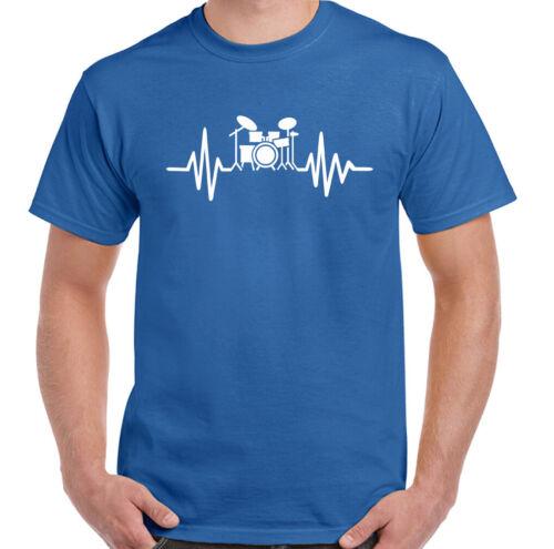 Drumming Pulse Mens Funny Drummer T-Shirt Heart Beat Drum Kit Set Cymbal Music