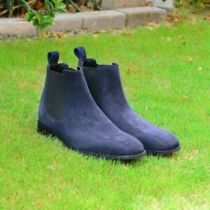 Men-039-s-Handmade-Chelsea-Boots-Fashion-Party-Casual-Real-Calf-Suede-Leather-Shoes