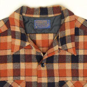 VTG-Pendleton-Mens-Loop-Collar-Flannel-Shirt-L-Beige-Rust-Blue-Plaid-Wool-USA