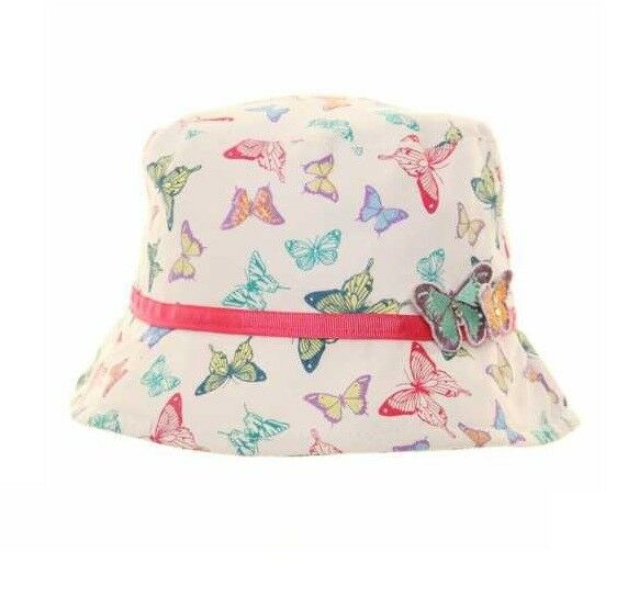 9d336ef1f26 Childrens Girls Summer Sun Bucket Hat Cute Child Kids Butterfly for sale  online