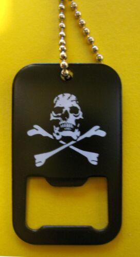 Collar calavera Necklace Skull /& Bones Dog Tag con abrebotellas