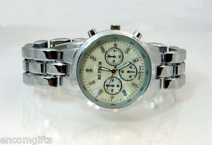 Mens-CHRONOGRAPH-STYLE-WATCH-Silver-Bracelet-Band-Pearlized-Rhinestone-Face