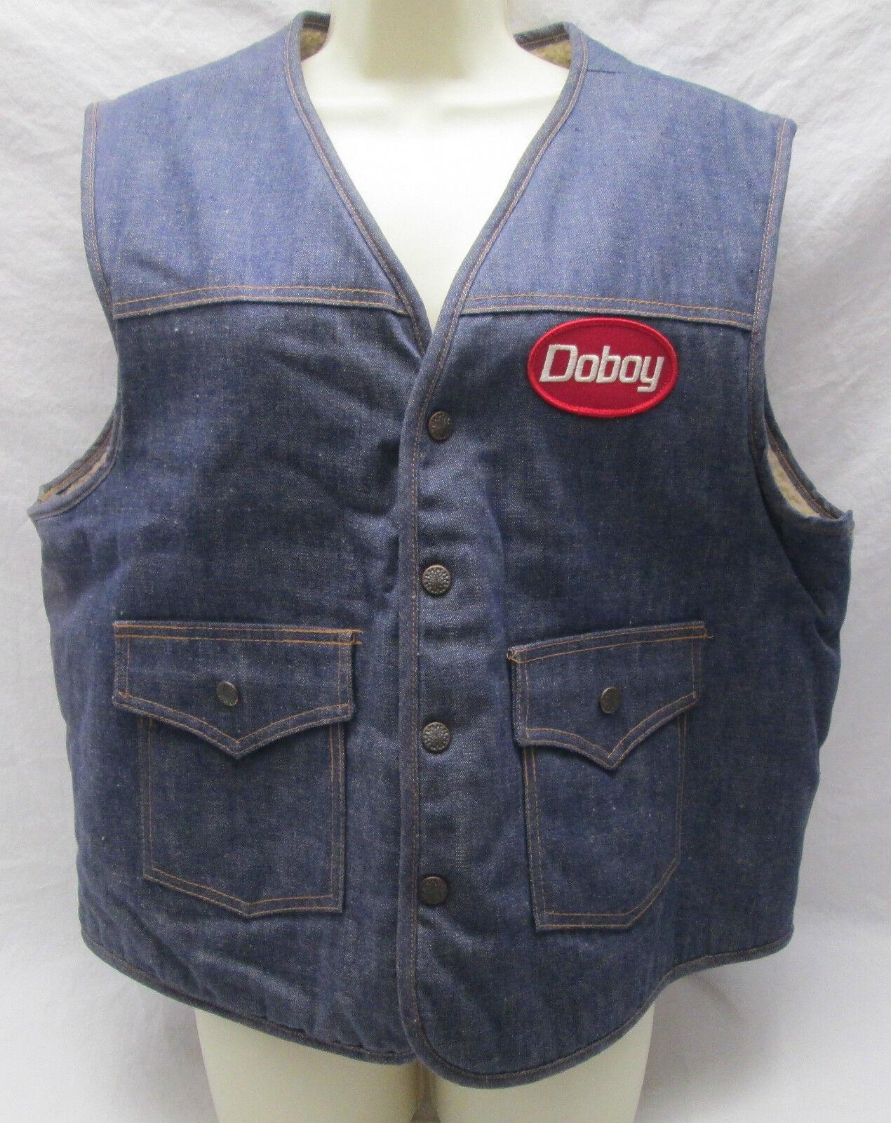 fe880f8b90 Vintage Doboy Adgreenising Jean Vest Men s Size XL Denim Jean Faux Sheepskin