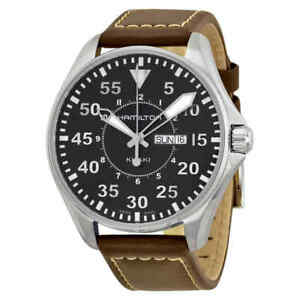Hamilton-Khaki-Aviation-Pilot-Black-Dial-Men-039-s-Watch-H64611535
