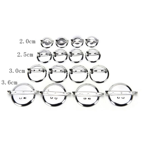 10Pcs Silver Plated Back Brooch Pin Findings DIY Supply Safety Base Cameos SP