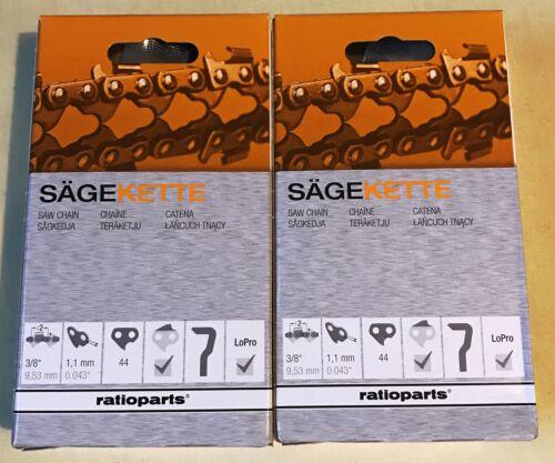 2 x Kette Sägekette für Stihl MS 017 170 171 180 181 021 210 211 30 3//8 1,1 44TG