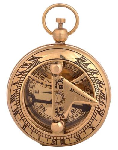 """Vintage Compass Nautical 2/"""" Solid Brass Hand-Made Push Button Sundial Compass"""