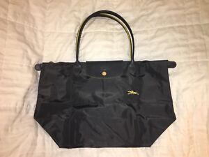 "920644d1356 LONGCHAMP Bag LE CLUB PLIAGE Limited Ed ""FUSIL"" GUNMETAL Large Long ..."