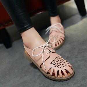 Womens-Oxfords-Lace-Up-Flats-Hollow-Out-Pumps-Plus-Size-9-Casual-Shoes-Retro-New