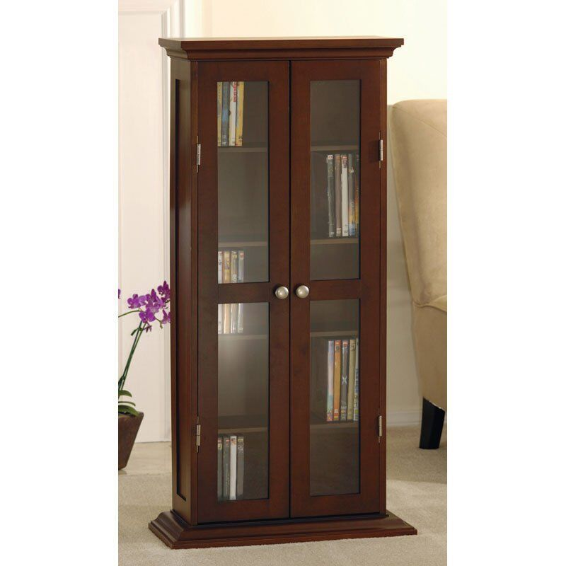 modern storage cabinet tall glass wood contemporary curio dvd cd shelf organizer ebay. Black Bedroom Furniture Sets. Home Design Ideas
