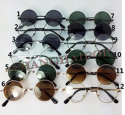Round Sunglasses Sunnies Clear Lens Glasses Retro Vintage Penny Hippy Frame 50's