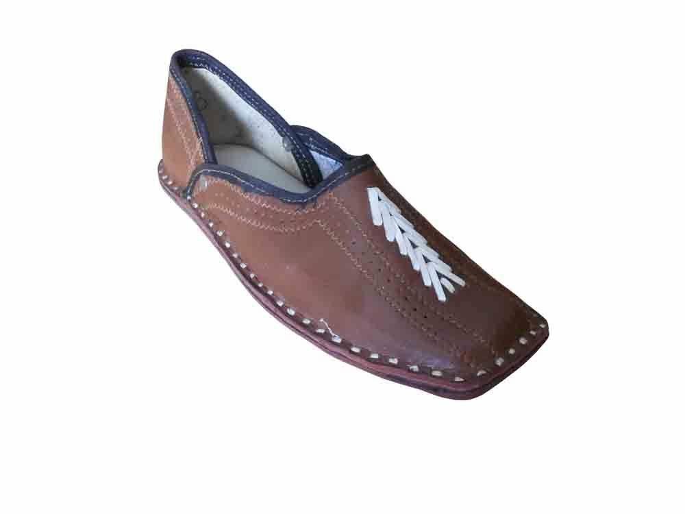 Jutti Indian Handmade Flat Brown Men Shoes Leather Flip-Flops Mojaries Flat Handmade US 8-11 e16e4a