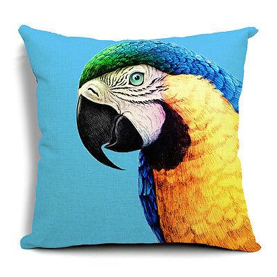 Vintage Cotton Linen Cushion Cover Pillow Case Parrot