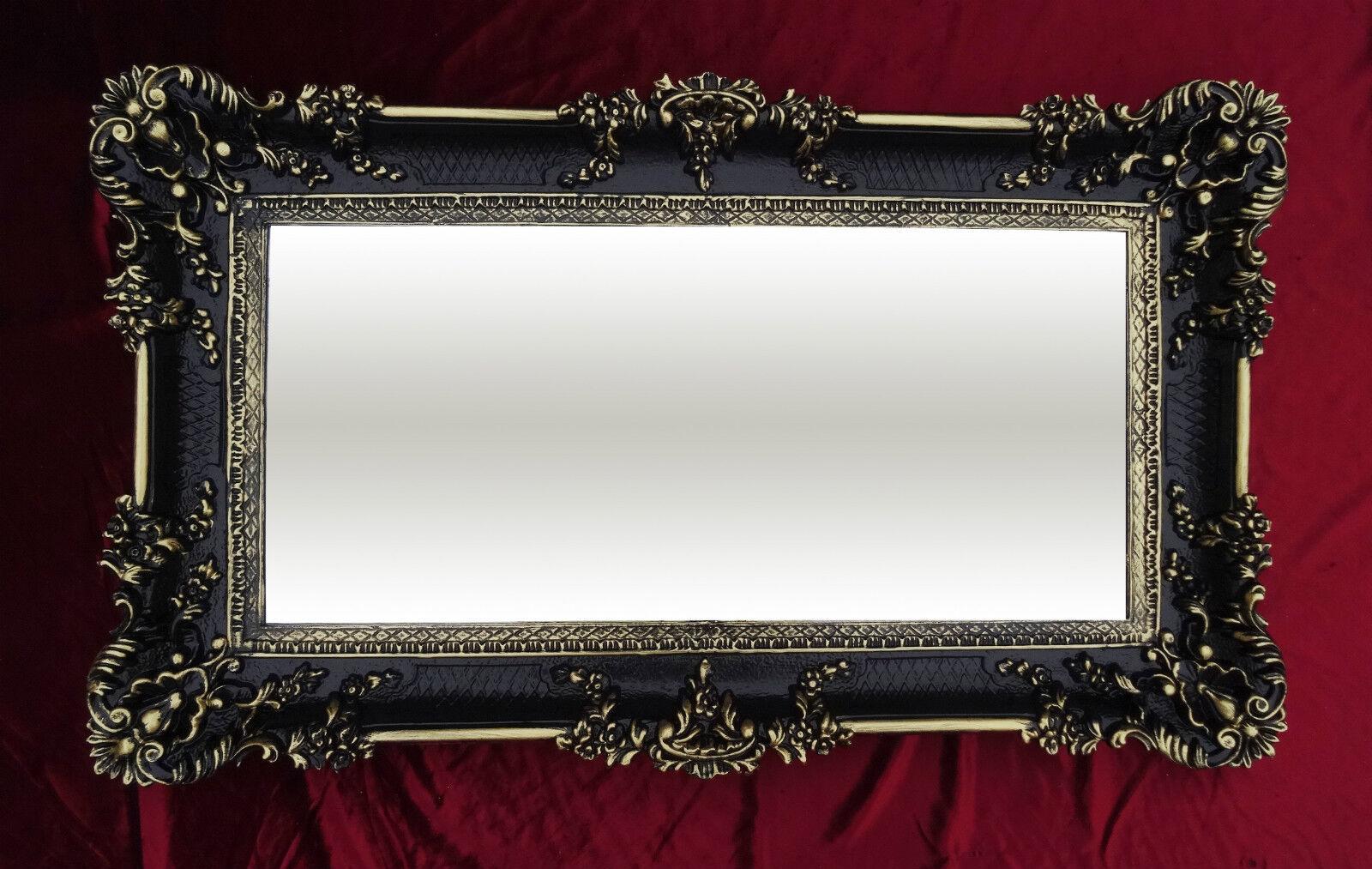 Miroir mural rectangulaire noir or repro baroque for Miroir baroque noir rectangulaire