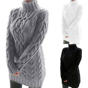UK Women/'s Patchwork Check Oversized Pullover Tops Chunky Knit Mini Jumper Dress