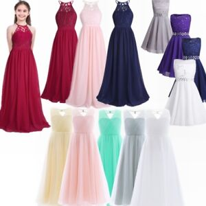 ae2248116fd8f Details about UK Flower Girl Kid Long Wedding Dress Floor Length Party Prom  Bridesmaid Dresses