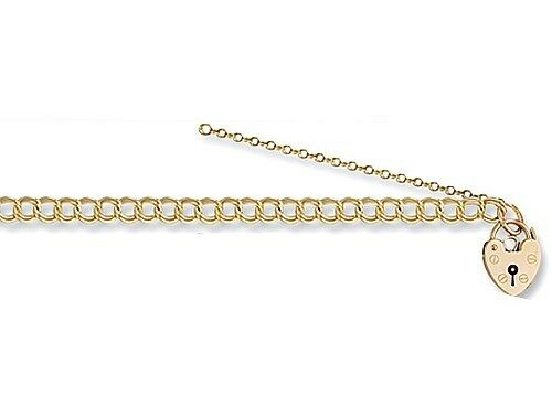 9ct Solid Gold Double link Curb Padlock Charm Bracelet