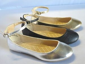 Girl Flats w/Ankle Strap (Mira13) Youth Flower Girl Pageant Black Gold Silver