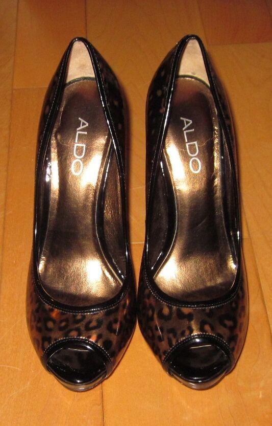 Aldo Patente Oro Negro Patente Aldo Cuero Estampado Animal Tacones 37 nos 6,5  Sharp debe C 8d406d