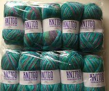 Job Lot Of 1000g Of Green/Multicoloured Knitco Knitting Yarn