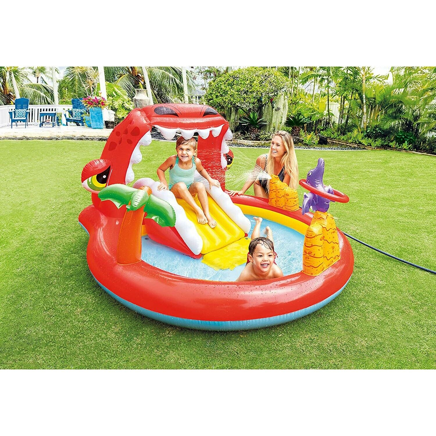 Inflatable Paddling Pool Slide Dino Fountain Play Kids Center Outdoor Garden