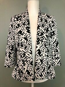 Kasper-Womens-Open-Front-Blazer-Jacket-Size-8-Black-White-3-4-Sleeve-Lined