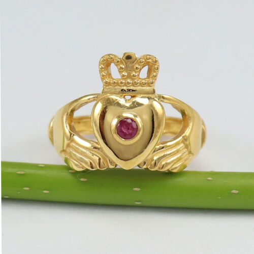 Naturel rubis plaqué or argent sterling Claddagh Bague de mariage Taille US 4 To 15