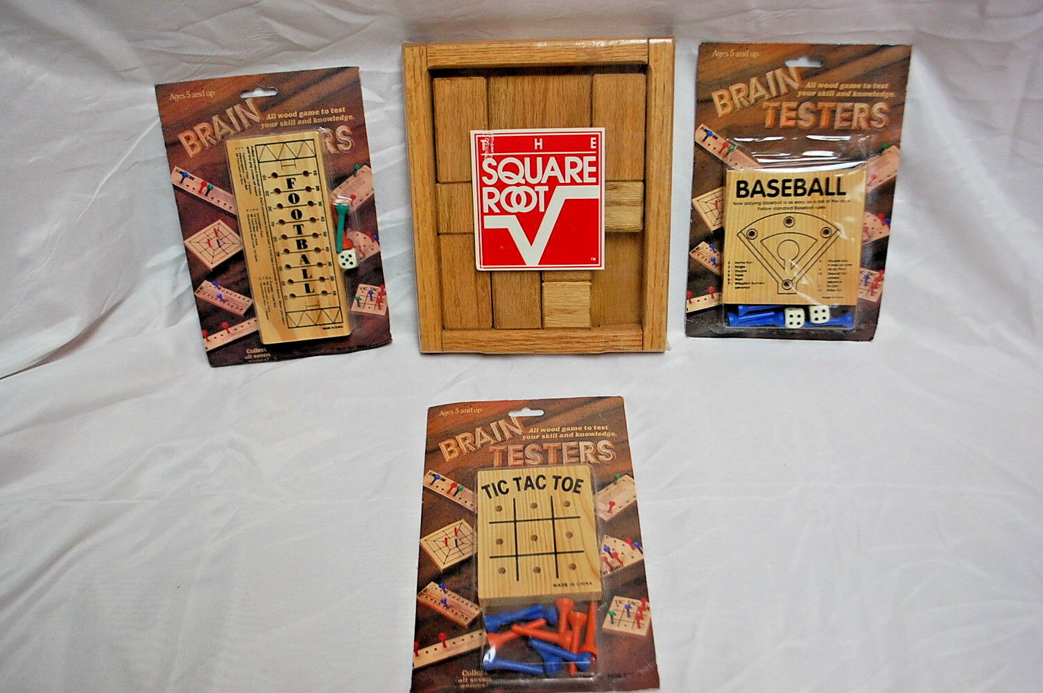 1-LOT of 4   ASSORTED WOODEN BRAIN TEASER PUZZLES   GAMES (NEW) ( S8160)