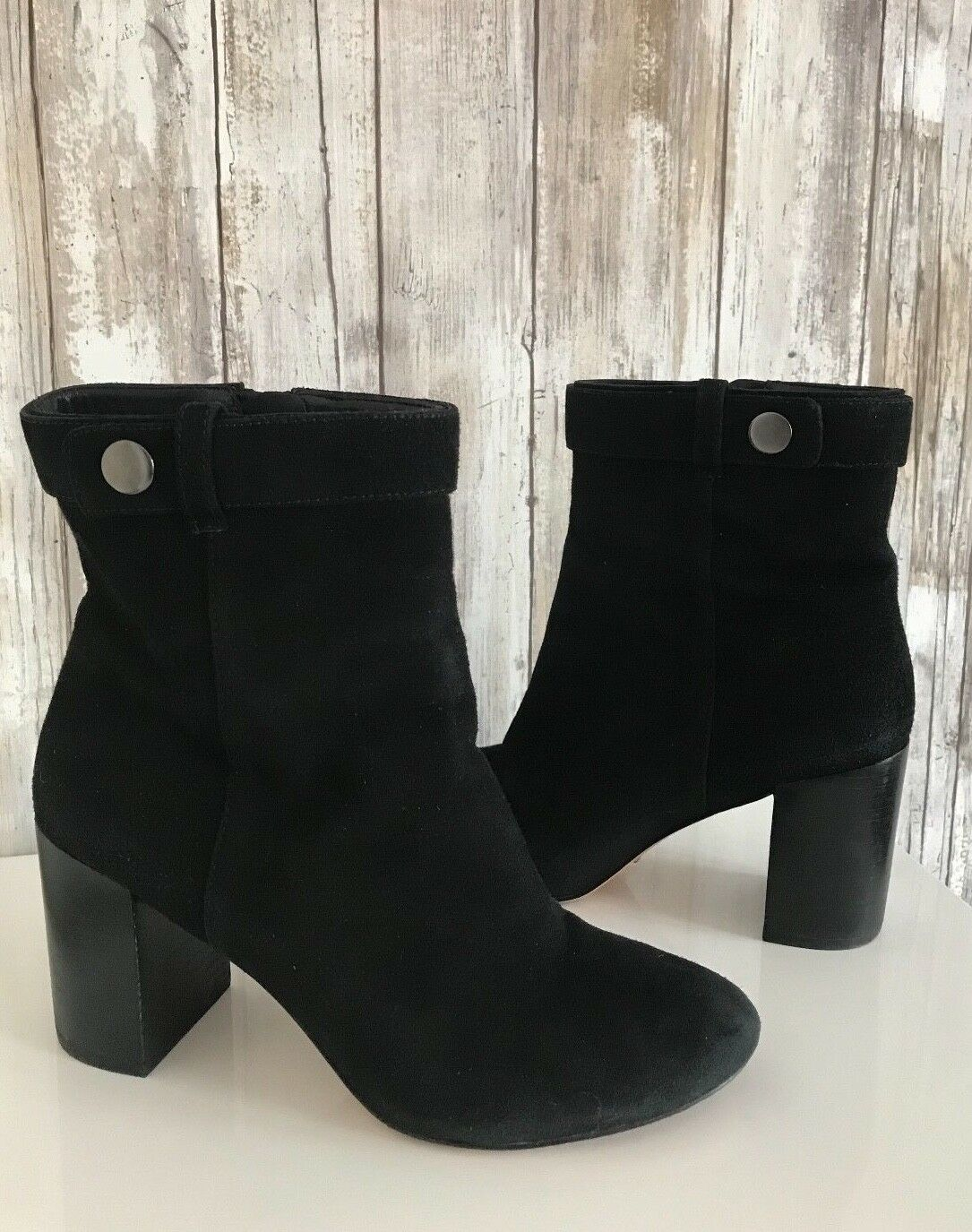 295 Pour La Victoire Danya Black Suede Chunky Heels Ankle Boots 6.5 RARE