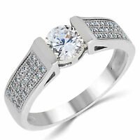 14k Solid White Gold Cz Cubic Zirconia Solitaire Engagement Ring