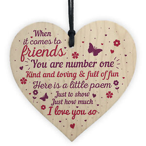 Image Is Loading Friendship Quote Wooden Heart Plaque Sign Birthday Gift