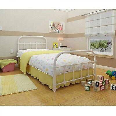 Metal Twin Bed Kids Girls Bedroom Furniture White Platform Headboard  Footboard 791511295961   eBay