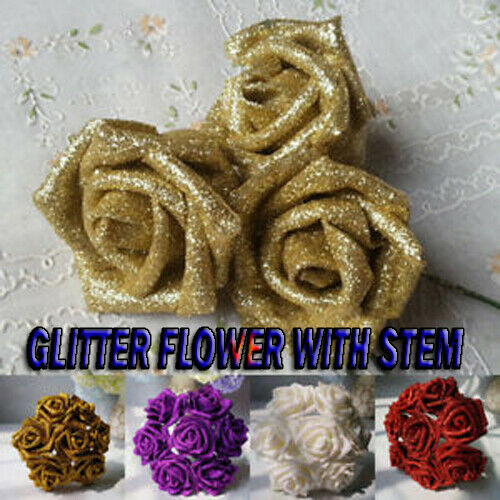 50cm Claw Glitter Leaves Artificial Xmas Large Leaves Flowers Foliage Fake Bling
