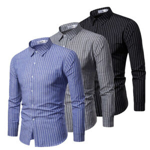 Luxury-Fashion-Men-039-s-Slim-Fit-Shirt-Long-Sleeve-Dress-Shirts-Casual-Shirt-Tops