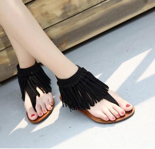 Chaussures Femme Tongs Sandales Frange Plat Talons Sandales Casual Fermeture Éclair Arrière Plage Chaussures T