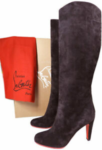 timeless design 99e1f 58e83 Details about $1290 Christian Louboutin MARMARA BOTA 85 Suede Boots Knee  Tall Booties 36.5