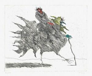 PAUL-FLORA-ORIGINAL-RADIERUNG-HANDKOLORIERT-034-Hexenhahn-034