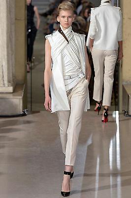 BOUCHRA JARRAR $1,075 ivory white cropped satin stripe tuxedo tux pants 38-F NEW