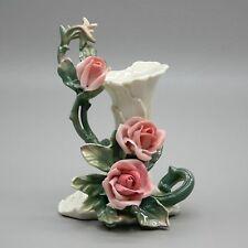 """Vtg 7"""" Tall Karl Ens Porcelain Pink Rose Flower Bud Vase German"""