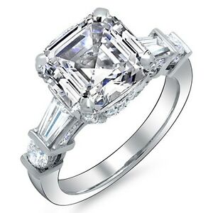 5-81-Ct-Asscher-Corte-Baguette-amp-Anillo-Compromiso-Diamante-Redondo-H-Vs2-GIA
