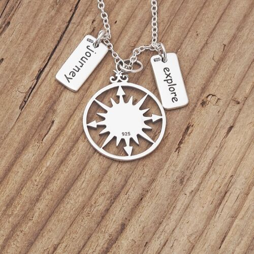 Sterling Silver Compass Journey Explore Charm Pendant Travel Necklace 925 Boxed