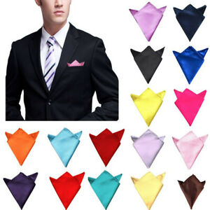 Men-Silk-Satin-Pocket-Square-Hankerchief-Plain-Solid-Color-Wedding-Party-Hanky