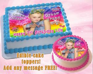 Image Is Loading Jojo Siwa Edible Birthday Cake Topper Personalized Item
