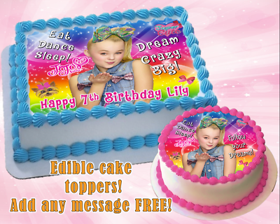 Phenomenal Jojo Siwa Edible Birthday Cake Topper Personalized Item Premium Funny Birthday Cards Online Aeocydamsfinfo